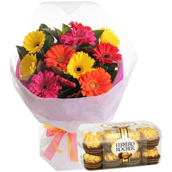Deliver Mixed Gerbera Bouquet and Ferrero Rocher Online