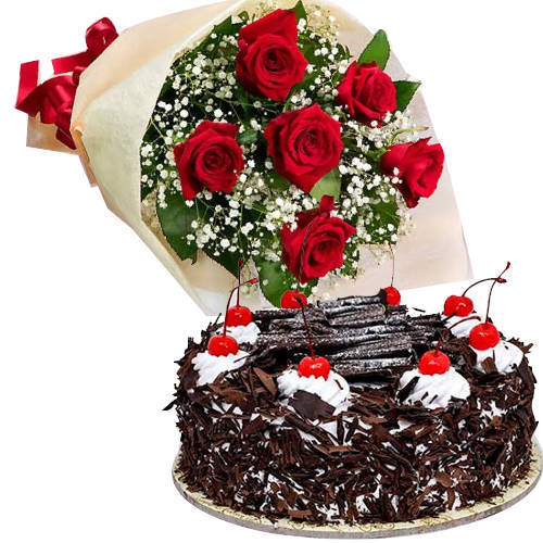 Send Combo Gift of Black Forest Cake N Red Roses Bouquet Online