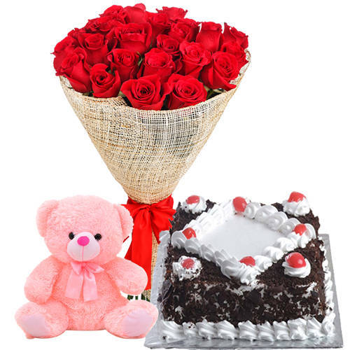 Order Online Red Roses Bouquet with Black Forest Cake N Teddy