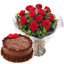 Send Combo Gift of Chocolate Cake N Red Roses Bouquet Online