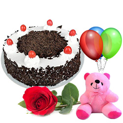 Shop Black Forest Cake with Red Rose, Teddy N Balloons Online