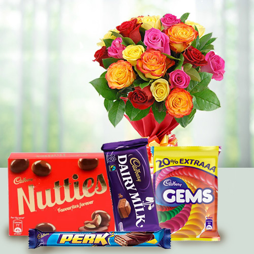 Order Online Assorted Cadbury Chocolates and Mixed Roses