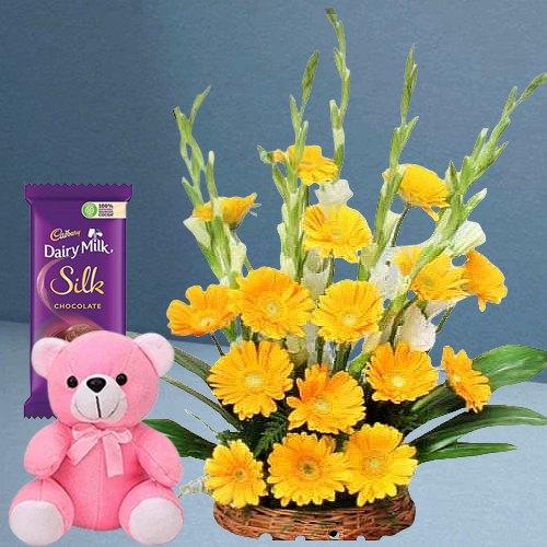Cute N Soft Teddy with Yellow Gerberas Arrangement N Dairy Milk Silk