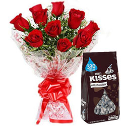 Angelic Hershey's Kisses Chocolate with Red Roses Bouquet