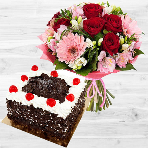 Aromatic Mixed Flowers Bouquet with Black Forest Cake