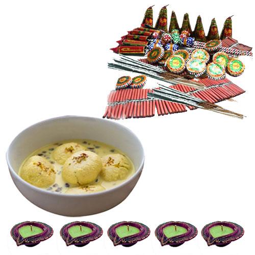 Diwali Fire Crackers with Ras malai Diyas