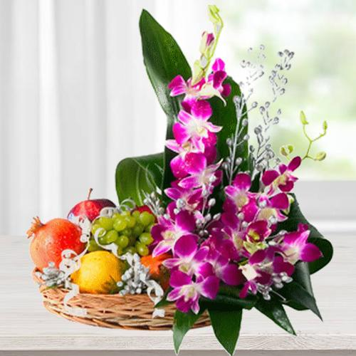 Premium Bamboo Basket Filled with Flowers and 2 Kg. Fruits