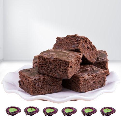 Tasty Brownies n Diyas for Diwali