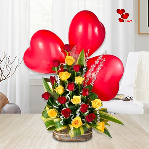 Book Online Mixed Roses Basket with Heart Shape Balloons