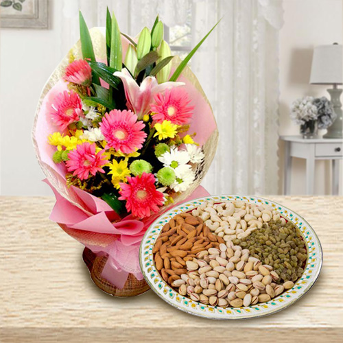 Book Online Seasonal Flowers and Dry Fruits