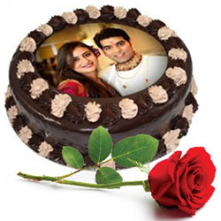 Adorable Gift of Single Red Rose with Chocolate Photo Cake