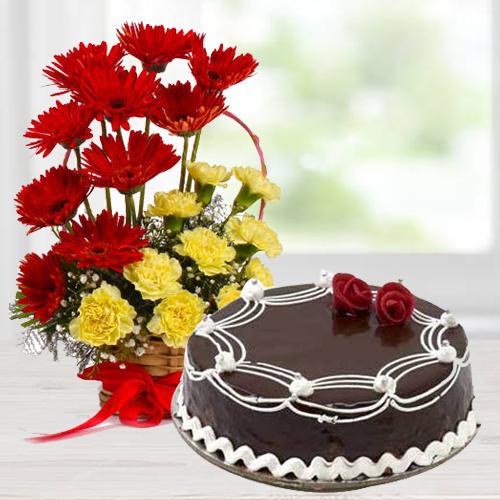 Online Order Mixed Flowers Arrangement with Chocolate Cake