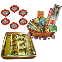 Assorted Sweets, Crackers and Diya