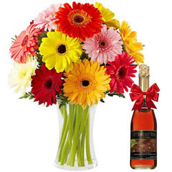 Mesmerizing Bouquet of Gerberas with Fruit Juice