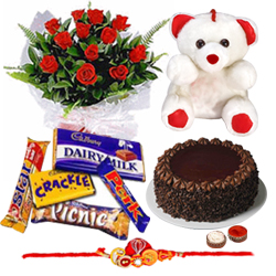 Lucky Rakhi, Soft Teddy, Roses, Cakes and Cadburys with Impressions of Love