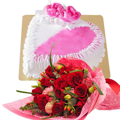 Deliver Online Red Roses Bouquet with Heart Shaped Cake