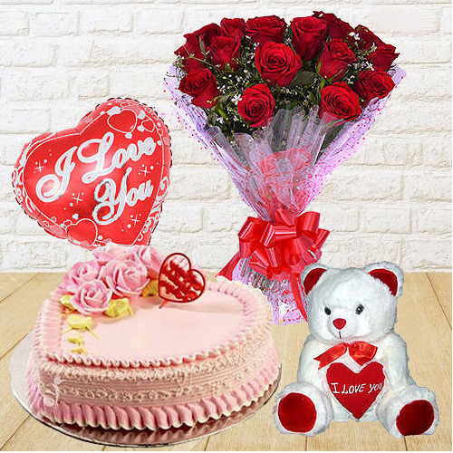 Breathtaking 12 Dutch Red Roses Bunch with Teddy Bear, 1 Lb Love Cake and Heart Shaped Balloons