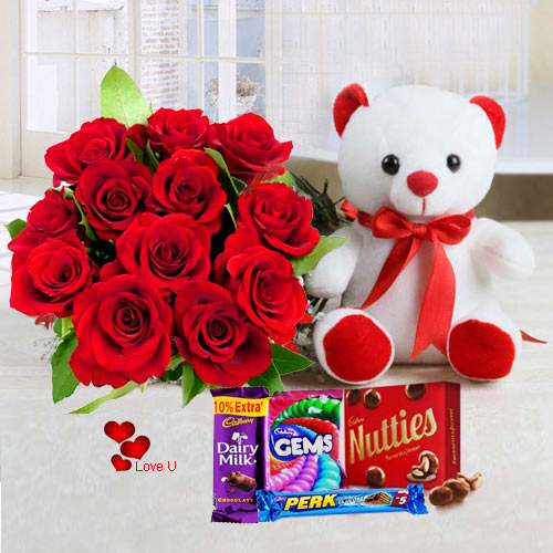 Online Combo of Teddy, Chocolates N Red Roses Bouquet