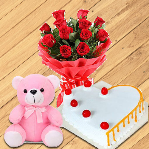 Order Red Roses with Teddy N Heart Shaped Cake Online