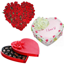 Wonderful 24 Red Roses with 1/2 Kg Heart Shaped Cake and Heart Shaped Chocolate Box