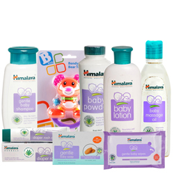 Beautifying Arrangement of Baby Care Items from Himalaya