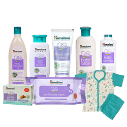 Glamorous Arrangement of Baby Care Gift Items from Himalaya