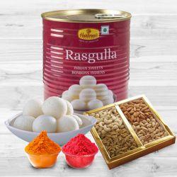 500 gms Assorted Dry Fruits with 1 Kg Haldiram Rasgulla