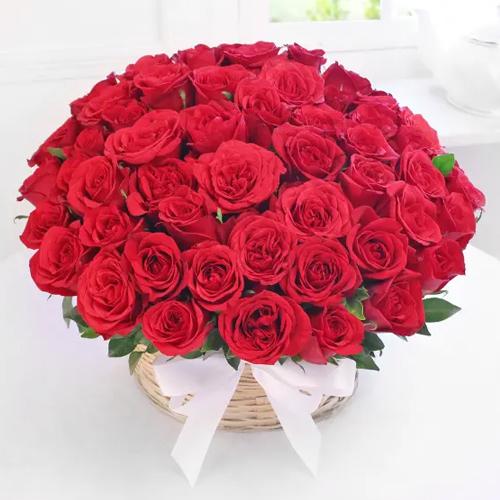 Online Order Red Roses Basket