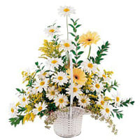 Deliver Online White N Yellow Flowers Basket