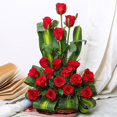 Deliver Red Roses Basket Online