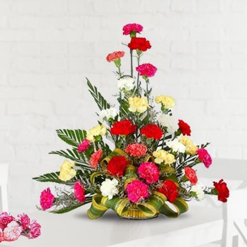 Elegant 30 Mixed Carnations Floral Arrangement