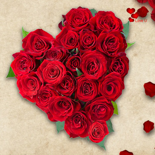 Deliver Heart Shape Red Roses Arrangement Online