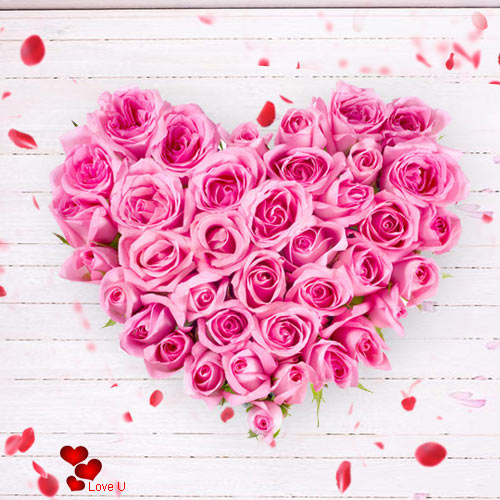Send Heart Shape Pink Roses Arrangement for Propose Day