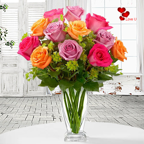 Order Mixed Roses in a Vase for Rose Day