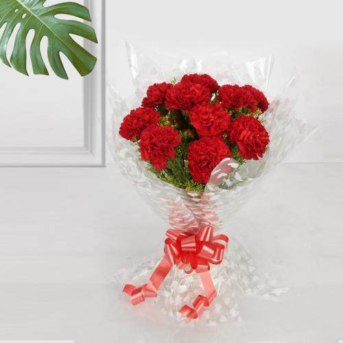 Gift Bouquet of Red Carnation Online