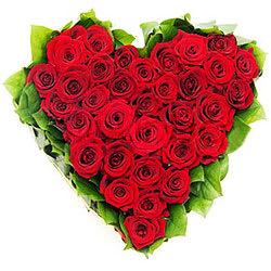 Online Order Hearth Shape Red Roses Arrangement