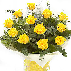 Deliver Online Bouquet of Yellow Roses