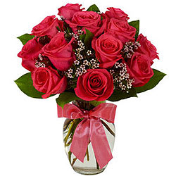 Shop Red Roses in a Glass Vase Online