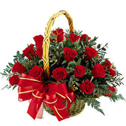 Online Order Basket of Red Roses
