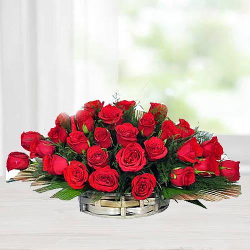 Online Order Red Roses Arrangement
