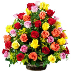 Stylish Collection of Mixed Coloured Roses in Basket