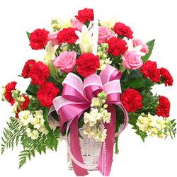 Shop Online Red Carnations N Pink Roses Basket