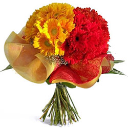Buy Online Bouquet of Red N Yellow Gerberas