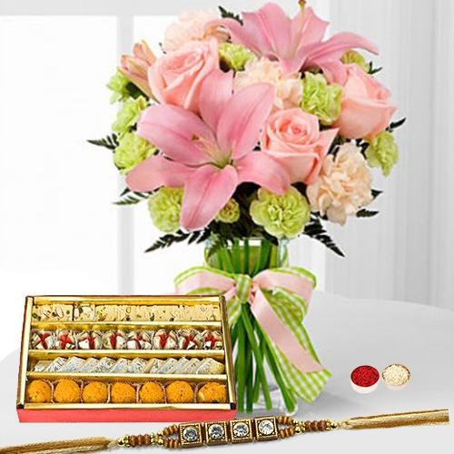 Lively Bunch of Amazing Flowers with 250 Assorted Sweets with One pc. Rakhi