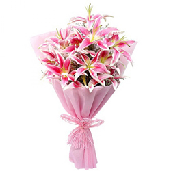 Mesmerizing Bouquet of 10 Pink Lily