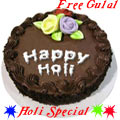 Fresh Baked Chocolate Cake 2 Kg. Filled with Soft Creams from top bakery in the city with free Gulal/Abir Pouch.