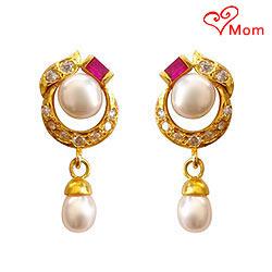 Pink Stone Studded Designer Genuine Pearl Pair of Earrings