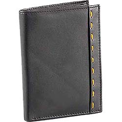 Greyish Balck Colored Gents Genuine Leather Wallet with Designer Orange Stitch from Leather Talks