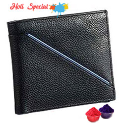 Leather Talks Genuine Leather Gents Wallet in Black with Blue Leather Stripe with free Gulal/Abir Pouch
