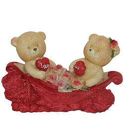 Charming Couple Teddy With Two Hearts and Roses in a Boat